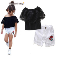 Wholesale Girls Lace Flower Clothing Set - Girls INS lace suits Children fashion summer Lace sleeve T-shirt Rose flower short skirt 2 pieces set suit Baby kids clothing B001
