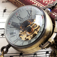 Wholesale Mechanical Wind Up Pocket Watches - Wholesale-Small Bell Design Mechanical Wind Up Pocket Watch With Chain Necklace Hot Selling Best Gift