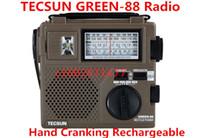 ingrosso ricevitore portatile ssb-All'ingrosso-TECSUN GREEN-88 GREEN88 FM / AM / SW radio full-band economico / ambientale / di emergenza con luce Dinamo a manovella ricaricabile