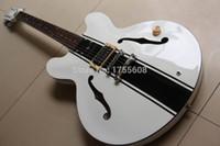 Wholesale Es Jazz Guitars - Wholesale-Hollow Tom Delonge ES-333 White Electric Guitar black stripes white ES 333 jazz electric guitar 120725