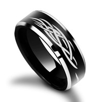 Wholesale Laser Finger Ring - American tungsten carbide ring with fire laser engraving Fashion and Hot sales Jewelry Finger ring for men and women black plated