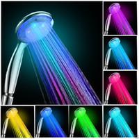 chuveiro conduzido automático venda por atacado-Cabeças de chuveiro RGB LED Mudança Automática de luz Cor do Aspersor de Banho Sem Necessidade de Bateria ABS Geração de Energia da Água Livre DHL