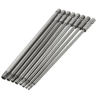 Wholesale Screwdriver For Electric - 8in1 Long Steel Magnetic Torx Security Electric Screwdriver Bit Set For Magnetic Screwdriver Tools T8~T40 150mm Length