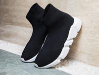 botas de malha preta venda por atacado-Sapatas altas dos esportes das peúgas da malha luxuosa do preto do instrutor da velocidade, botas lisas pretas triplas das peúgas da forma, com caixa
