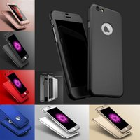 Wholesale Back Glass Black - Hybrid 360 Degree Full Body Coverage Protection Case Back Cover Plastic with Tempered Glass Screen for iPhone 7 6S Plus SE 5S Retail Package