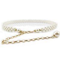 Wholesale Wholesale White Leather Clothes - Wholesale- Popular Elegant women pearl belts metal chain belts black white pearl chain women fashion clothing accessories F0225
