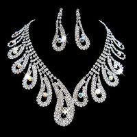 conjuntos de joyas de baile al por mayor-Moda Rhinestones Sistemas de la joyería nupcial cristales de plata de la boda collares y pendientes para la novia de fiesta de noche accesorios