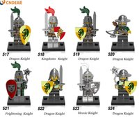 Wholesale Toy Warrior Knights - x0148 Medieval Knights Super Heroes Gladiatus figures kingdom knight frieghtening Dragon kinight Warrior Building Blocks Toys