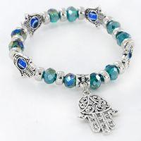 Wholesale Diamond Hand Bracelets - Turkey Evil Eye Bracelet Resins Beads Shamballa pendant Kabbalah Hand beaded bracelet strand elastic wristband charm jewelry