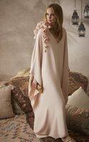 Wholesale Black Silk Flower Brooch - pink silk caftan formal evening dresses with floral brooch 2017 V-Neck dubai kaftans abayas party evening gowns