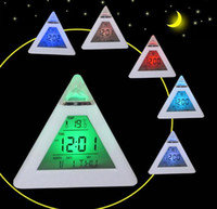 Wholesale Triangle Led Desk Clock - 7 LED Color Changing Alarm Clock Triangle Pyramid Style Hermometer Desk Clock Free Shipping Digital Table Clock for Men Women Gift
