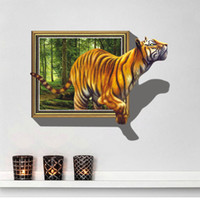 Wholesale Wholesale Tiger Wall Decals - Free shipping New 3D tiger Wall Decal Adhesive removable cartoon Wall Stickers wallpaper Mural Art Home Decor