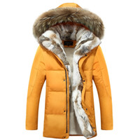 Wholesale White Fur Hooded Mens Jacket - Winter Men's Duck Down Jackets Coats Real Rabbit Fur Men Women Lovers Fashion Thick Warm Parka Classic Mens jaqueta masculina