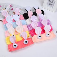 Wholesale Ear Stickers - Korean Face Mask Stickers Cartoon Ear Hair Band Gargle Bath Bandanas Headband For Women Girls Headwear Big Eye Hair Accessories 12pcs