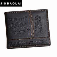 Wholesale Bag Mens Cowhide - Wholesale- JINBAOLAI Brand Leather Wallet 2016 Men Wallet Men's Short Purse Men Bags Coin Wallets Clip Cowhide Mens Wallet #ZTYW