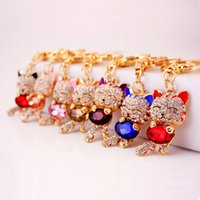 Lucky Smile Cat Crystal Rhinestone chaveiro chaveiro chaveiro carro anel chave Wedding Favors Party Gift + DHL frete grátis