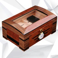 Wholesale Cedar Wood Boxes - 35*23.5*15.8Cm Cigar Humidor Cigarette Box Case Portable Cedar Wood Tobacco Box Wooden Varnished Cigarette Case 2 Layers Cigar Cases