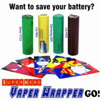 Wholesale Vapor Skins - New Superhero Luxury Series 18650 Battery vaper wrapper vapor mods Captain America PVC Skin Sleeve vaporizer e cigs Heat Shrink Re-wrapped