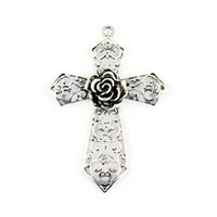 Wholesale Cross Charm Scarves - Vintahe silver plated Jewelry pendant cross hollow-out rose flower DIY jewelry accessories - Cross Pendant Scarf Making Charms, PT-334