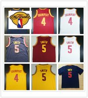 Wholesale Cheap Sport Patches - 2017 Finals Basketball Jersey 4 Iman Shumpert Red Blue White Yellow Cheap New 5 Jr Smith Jerseys Sports Shirt With The Patch