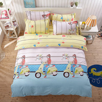 Barato Meninas Cama Azul Único-Bike Girl Bedding Sets Blue Pink Consolador Set Duvet Cover Lençois Sets Single Double Queen King Size 4pcs Bedding