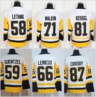 malkin schwarzes eis trikot großhandel-87 Sidney Crosby Trikot 2018 Neu 71 Evgeni Malkin 81 Phil Kessel Trikots Eis Schwarz Weiß 72 Patric Hornqvist 58 KRIS LETANG