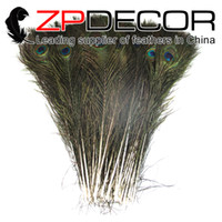 Wholesale Natural Peacock Tail Feathers - New Arrival ZPDECOR 100pcs lot 40-45cm Beautiful Natural Peacock Tail Feathers For Carnival Decoration bulk sale
