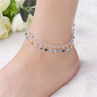 Delicate Rhinestone Tassel Foot Chain S925 Sterling Silver Multi Layer Ankle Bracelets Ankle Chain Barefoot Sandals Womens Anklet