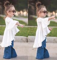 elbiseler alevlendirilmiş etekler toptan satış-2017 Bebek Kız Giysileri Peri Beyaz Elbise Yaz Prenses Tutu Parlama Kollu Asimetrik Elbiseler Çocuklar Pamuk Etek Ücretsiz Kargo