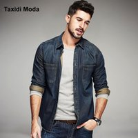 Wholesale Mens Fitted Casual Coats - Wholesale- 2017 Spring Mens Casual Denim Shirts 100% Cotton Blue Brand Clothing Long Sleeve For Man's Slim Fit Jeans Clothes Plus Size Coat