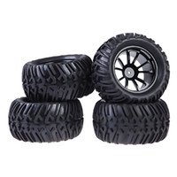 Wholesale Hsp Tires - New 4PCS Plastic Wheel Rim and Rubber Tires For HSP 1:10 Monster Truck RC Car 12mm Hub