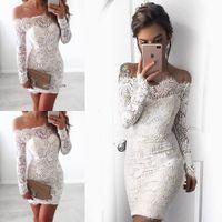 Wholesale Bridal White Short Mini Dress - Newest Elegant Cap Sleeve Short Sheath Wedding Dresses Lace Mini Short Bridal Gowns Button Back vestido de noiva Bridal Wedding Gowns