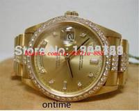 diamants super or achat en gros de-Montres de luxe montre-bracelet nouveau modèle hommes II lunette sertie de diamants montre de mouvement automatique hommes montres super couronne