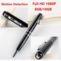Wholesale Motion Detection Pen - full HD 8GB 16GB pen camera with Motion Detection 1080P Ball Point Pen DVR mini audio video recorder black