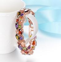 pulsera de cristal pulsera de diamantes al por mayor-Crystal Bracelet Bangle Rhinestones Multicolor Pulsera de lujo My Mona Lisa para mujer Cubic Zircon Diamond Wedding Jewelry Christmas Gift