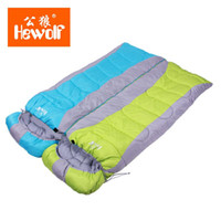 Wholesale Travel Water Can - Wholesale- Hewolf Multifuntional Outdoor Can be Stitched Sleeping Bag Envelope Hooded Travel Camping Keep Warm Water Resistant Sleeping Bag