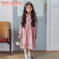 Wholesale Wholesale Boutique Formal Dresses - Korean Boutique Princess Dresses Girls Clothing Dress Long Sleeve Bow Belt Lace Dress Net Yarn Party Dressy Big Girl Dress Pink A7571