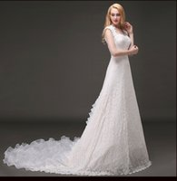 Wholesale Wedding Gowns Online China - Vintage Lace Wedding Dresses A-Line Backless Bridal Gowns From China Wave Details Embroidery Discount Wedding Gowns Online Free Shipping
