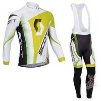 Wholesale Scott Bib Pants - 2017 Scott Cycling Jersey Long sleeve bike maillot Ropa ciclismo quick dry Bicycle shirt +cycling bibs pants set cycling clothing C0604