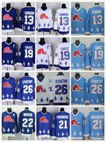 nhl jersey barato al por mayor-Cordón NHL Quebec Nordiques # 19 Joe Sakic 21 Forsberg 26 Stastny 13 Sundin 22 Marois Blanco Azul barato Camisetas CCM Vintage Hockey