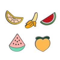 Wholesale Peach Sapphires - Colorful Enamel Pins Collar Lapel Badge Pin Brooch DIY Fruit Peach Banana Watermelon Orange childrens gift