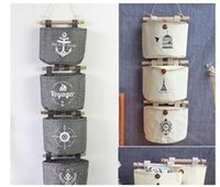 Wholesale Decorative Wall Hangings Fabric - Navy Fabric Cotton Pocket Wall Hanging Storage Bags