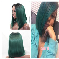 Wholesale Short Dark Green Wig - 1BTBD black to dark green turquoise teal Synthetic Lace Front Wig Glueless Ombre Tone Color Short Bob Hair Wigs Heat Resistant