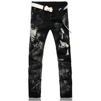 Wholesale Girls Stripe Capris - Wholesale-Men's fashion personality beauty girl print jeans Slim black denim pants Long pencil trousers