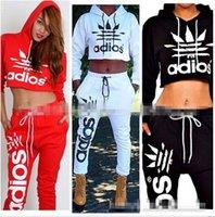 Wholesale Crop Top Jogging Suit - Brand 2017 New Sport jogging Suits Women Crop Top Sweatshirt+Pants 2Pcs Set Adios Print Tracksuit Women Active Hoodies Sweatshirt Tracksuits