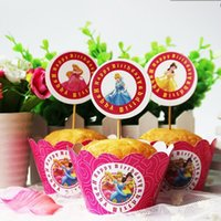 Wholesale Baby Girl Cupcake Wrappers - Wholesale- high quality cartoon princess girls favor paper cupcakes kids birthday party baby shower decoration 12pcs wrappers+12pcs toppers