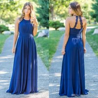 Wholesale sexy open back wedding dresses for sale - Royal Blue Chiffon Beach Garden Bridesmaid Dresses Halter Neck Sexy Open Back Country Bridesmaids Wedding Guest Dresses BM0144