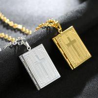 Wholesale Hip Hop Fashion Photos - Newest Design Hip Hop Cross Locket Statement Pendant Necklace Memory Photo Locket Fashion Jewelry for Men and Women