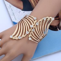Wholesale Bohemian Feather Cuffs - 2017 brand Fashion Couple Feather Crystal Bracelet bangles For Women Jewelry Rhinestones punk gold color Cuff Bracelet