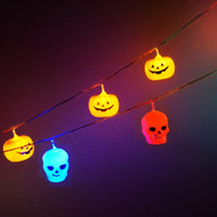 Bunte alloween Dekoration String Lampe Nightlights lustig Kunststoff Schädel String Lights für Party Supplies Batterie betrieben